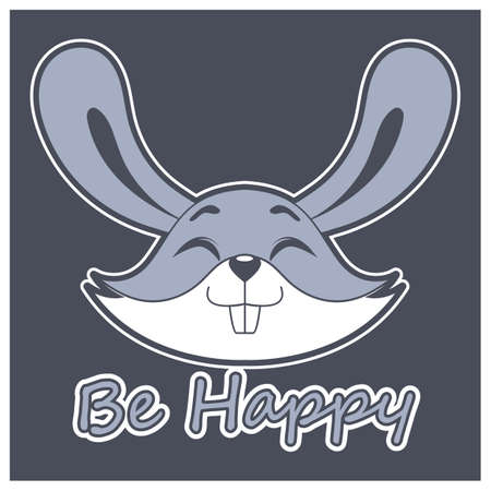 Happy rabbit face with motivational text