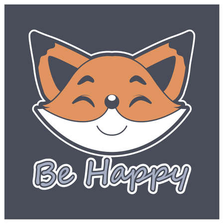 Happy fox face with motivational text