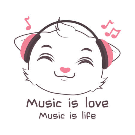 Cute gray cat character listening to music Illustration