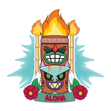 Colorful tiki faces greeting Illustration