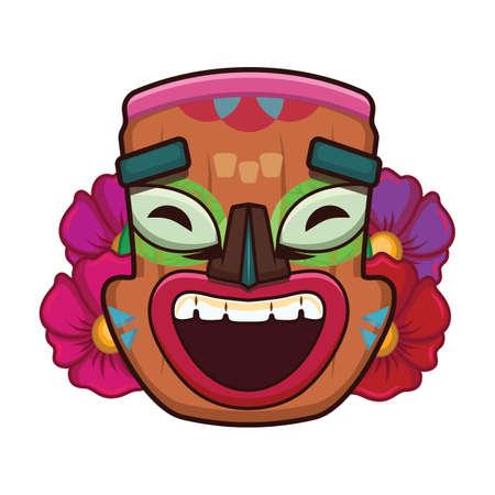 Laughing tiki head Illustration