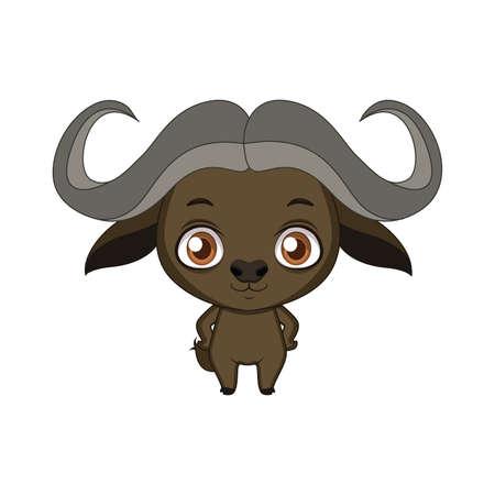 Cute stylized cartoon buffalo illustration ( for fun educational purposes, illustrations etc. )