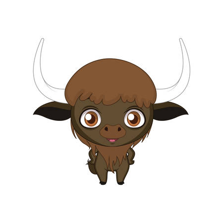 Cute stylized cartoon bison illustration ( for fun educational purposes, illustrations etc. ) Illustration