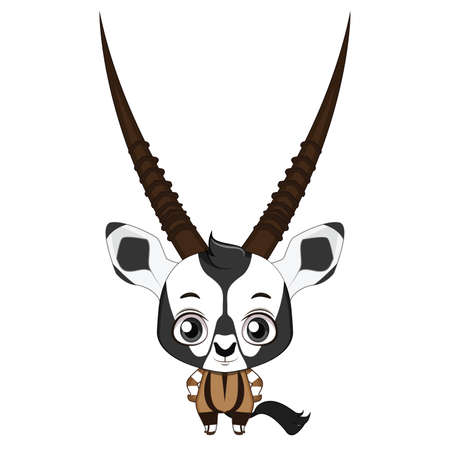 Cute stylized cartoon oryx illustration ( for fun educational purposes, illustrations etc. )