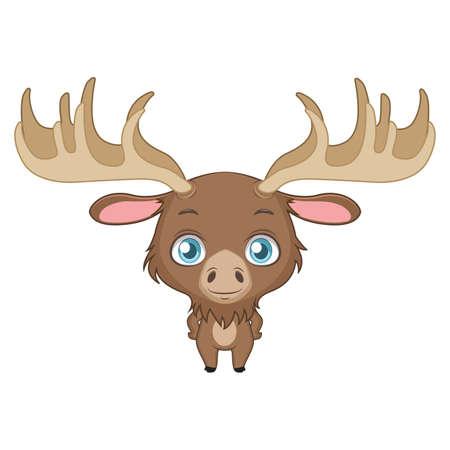 Cute stylized cartoon moose illustration ( for fun educational purposes, illustrations etc. )