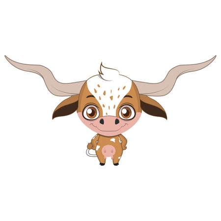 Cute stylized cartoon longhorn illustration ( for fun educational purposes, illustrations etc. ) Illustration