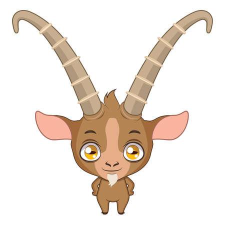 Cute stylized cartoon ibex illustration ( for fun educational purposes, illustrations etc. ) Illustration