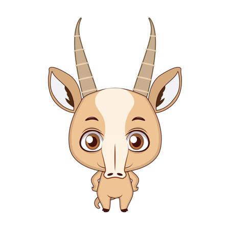 Cute stylized cartoon saiga antelope illustration ( for fun educational purposes, illustrations etc. )