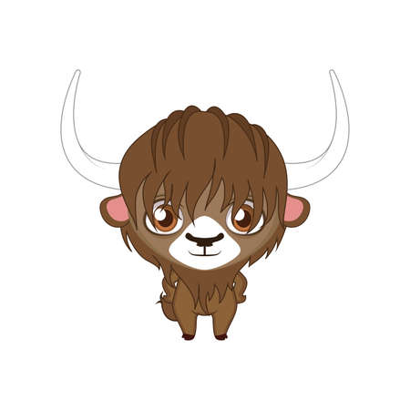 Cute stylized cartoon yak illustration ( for fun educational purposes, illustrations etc. )