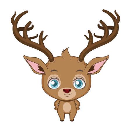Cute stylized cartoon reindeer illustration ( for fun educational purposes, illustrations etc. )