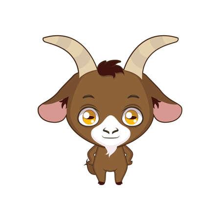 Cute stylized cartoon goat illustration ( for fun educational purposes, illustrations etc. )