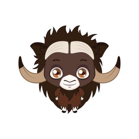 Cute stylized cartoon musk ox illustration ( for fun educational purposes, illustrations etc. )