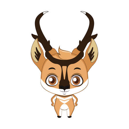 Cute stylized cartoon pronghorn illustration ( for fun educational purposes, illustrations etc. )