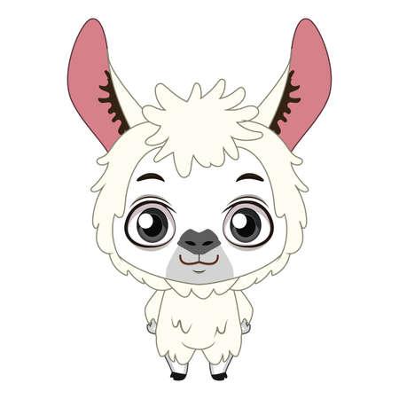 Cute stylized cartoon llama illustration ( for fun educational purposes, illustrations etc. ) Ilustração