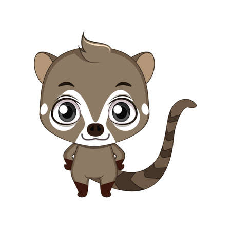 Cute stylized cartoon coati illustration