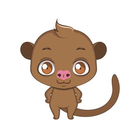 Cute stylized cartoon olingo illustration