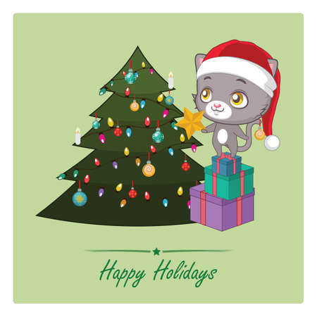 Cute cat decorating a tree for Christmas