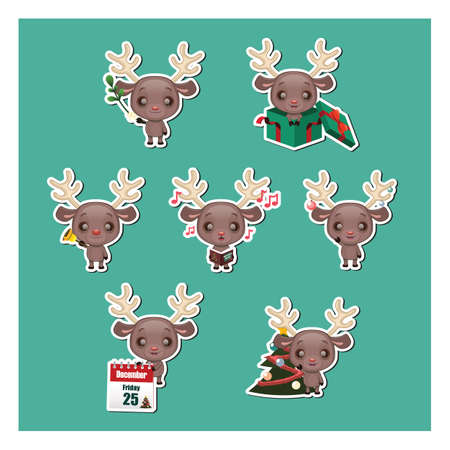 Set of cute festive reindeer mascot stickers Ilustracja