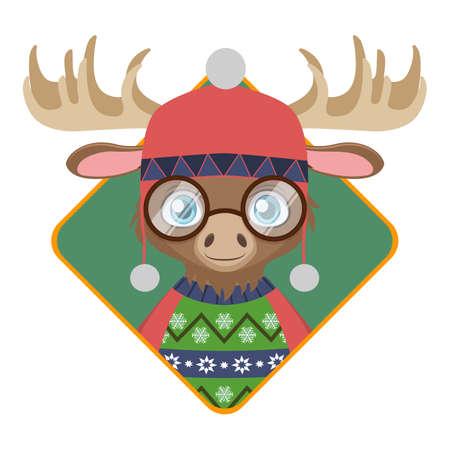 못생긴 크리스마스 스웨터와 귀여운 hipster 사슴의 배지 일러스트