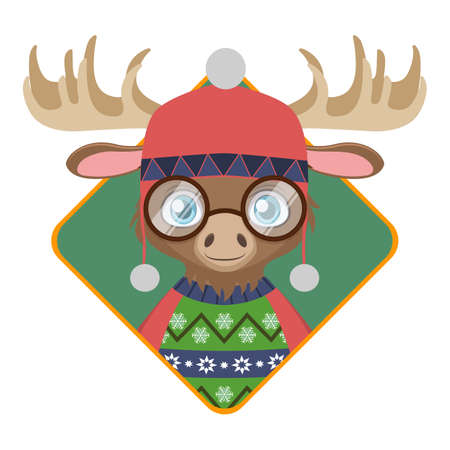 Badge of a cute hipster moose with an ugly Christmas sweater