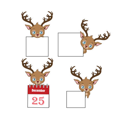 Collection of cute reindeer holding signs