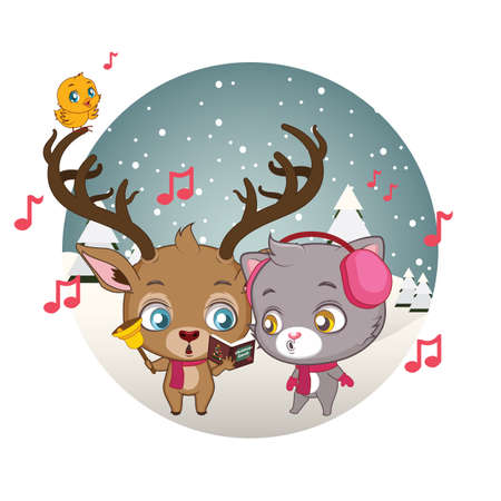carols: Cute reindeer, cat and little bird singing Christmas carols