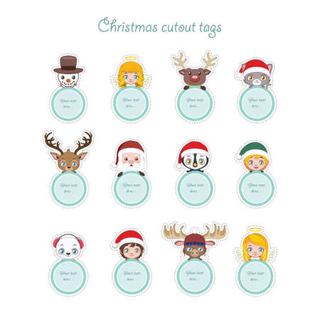 Cute Christmas characters holding circular present tags Illustration