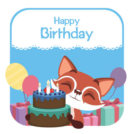 Birthday illustration with cute fox. Illustration