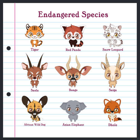 Collection of endangered animal species