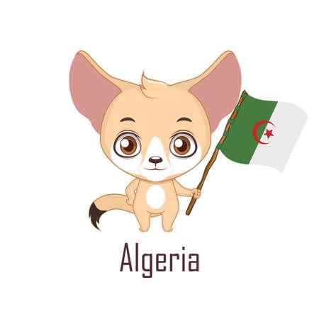 National animal fennec fox holding the flag of Algeria Vector illustration. Illusztráció