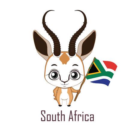 National animal springbok holding the flag of South Africa Vettoriali
