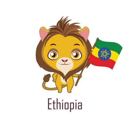 National animal lion holding the flag of Ethiopia Vektoros illusztráció