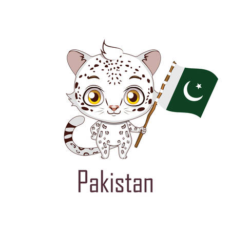 National animal snow leopard holding the flag of Pakistan