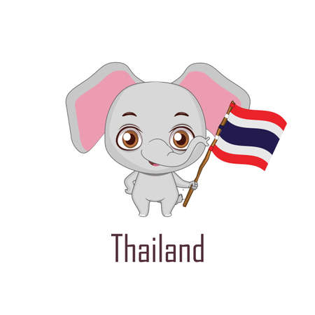 National animal elephant holding the flag of Thailand Vector illustration.