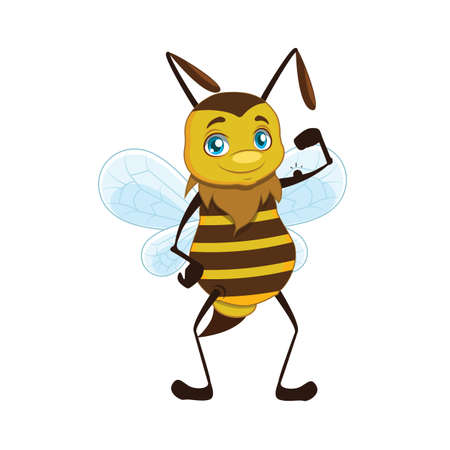 Illustration of a bee showing off his strength