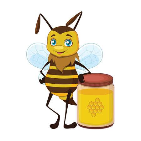 Illustration of a bee standing next to a jar Illusztráció