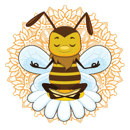 Illustration of a honeybee meditating