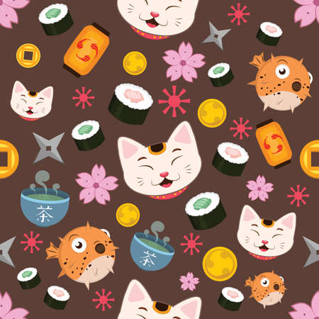 Seamless pattern background with Japanese elements