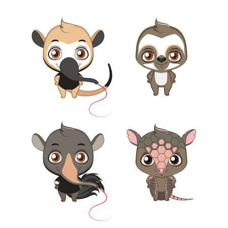 Xenarthra family set ( Anteater, Sloth, Tamandua, Armadillo )