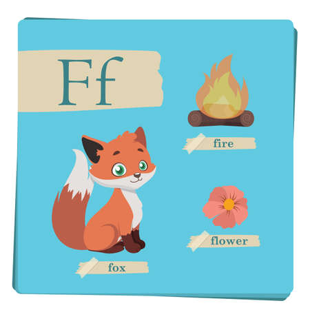 Colorful alphabet for kids - Letter F