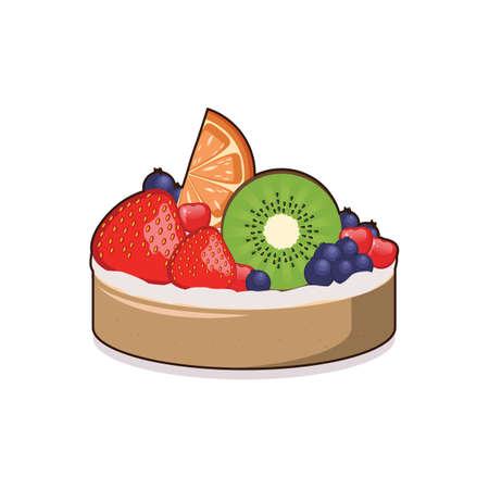 Illustration of a fruit tart Vektoros illusztráció