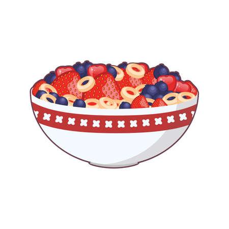 Illustration d'un bol de céréales et de fruits