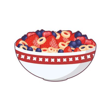 Illustration of a bowl of cereal and fruit