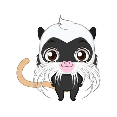 Cute stylized cartoon emperor tamarin illustration ( for fun educational purposes, illustrations etc. )