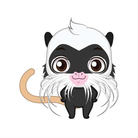 Cute stylized cartoon emperor tamarin illustration ( for fun educational purposes, illustrations etc. ) 写真素材 - 108798583