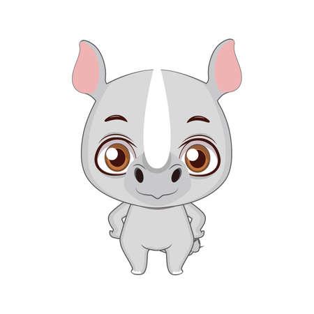 Cute stylized cartoon rhino illustration ( for fun educational purposes, illustrations etc. )