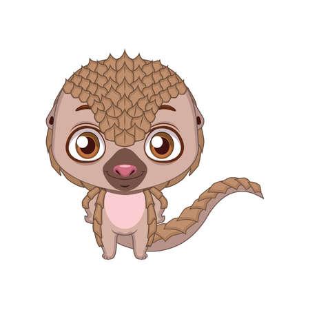 Cute stylized cartoon pangolin illustration ( for fun educational purposes, illustrations etc. )