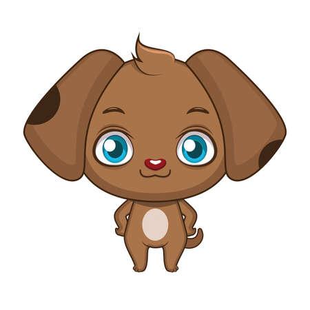 Cute stylized cartoon dog illustration 일러스트