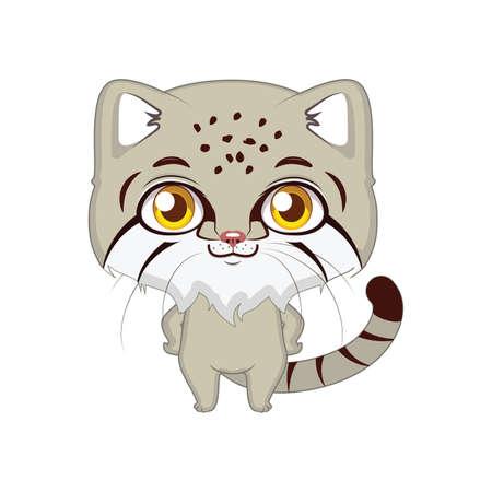 Cute stylized cartoon pallas's cat illustration