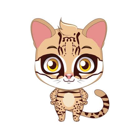 Cute stylized cartoon ocelot illustration